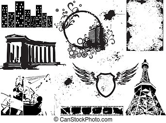 Set of vector grunge elements 2