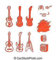 Set of vector guitars made marker.