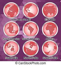 Set of vector halftone continents f