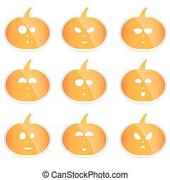 set of vector Halloween pumpkins,