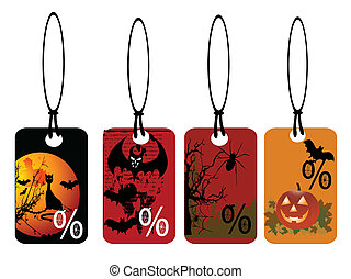 set of vector halloween tags
