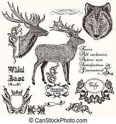 Set of vector hand drawn animals hu