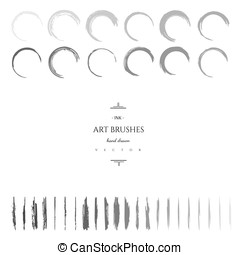 Set of vector hand drawn art brushes.