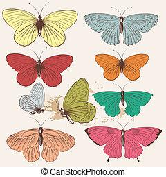 Set of vector hand drawn butterflie