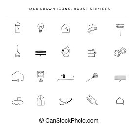 Set of vector hand drawn icons. Housekeeping and home repairs.