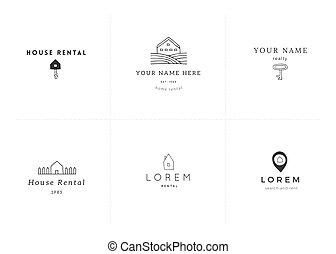 Set of vector hand drawn logo templates. Property rental...