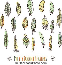 Set of vector hand-drawn stylized colored feathers. Doodle