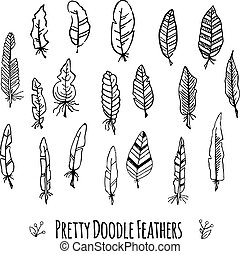 Set of vector hand-drawn stylized feathers. Doodle