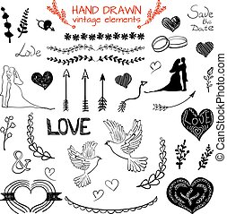Set of VECTOR hand drawn vintage elements, black drawings