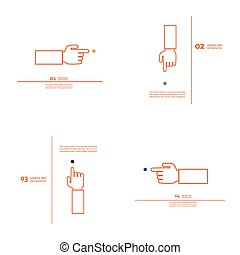 Set of vector hand with index finger.