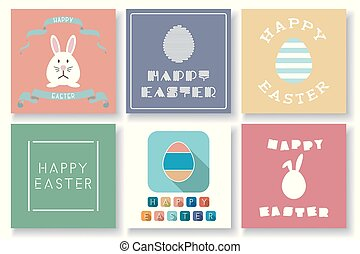 Set of vector happy Easter colorful cards with decorative elements. Holiday creative backgrounds.