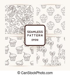 Set of Vector Hearts and Muffins Seamless Patterns