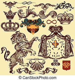 Set of vector heraldic elements for