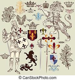 Set of vector heraldic elements in