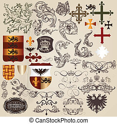 Set of vector heraldic elements in