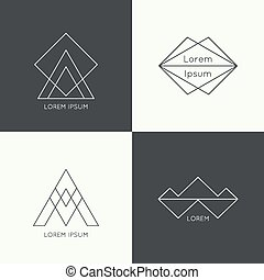 Set of vector hipster logo, badge, monogram, banner,...