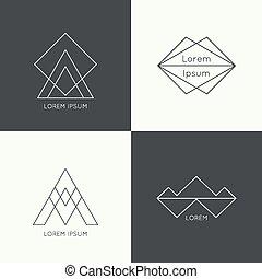 Set of vector hipster logo, badge, monogram, banner,...