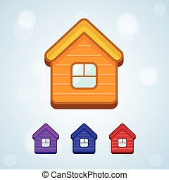 Set of vector home icon isolated