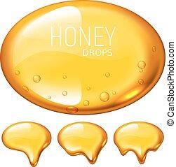Set of vector honey drops on white background