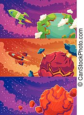 Set of vector horizontal banners with cartoon fantasy of alien planets