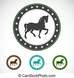 Set of vector horse label