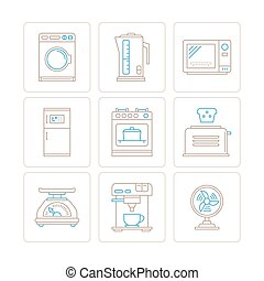 Set of vector household appliances icons and concepts in mono thin line style