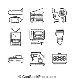 Set of vector household icons in sketch style