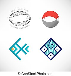 Set of vector icon with fish.