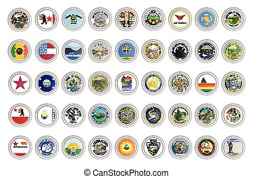 Set of vector icons. Flags and seals of California state, USA.