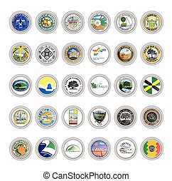 Set of vector icons. Flags and seals of cities, California state, USA.