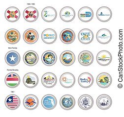 Set of vector icons. Flags and seals of Florida state, USA.