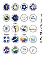 Set of vector icons. Flags and seals of Indiana state, USA.