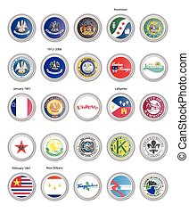 Set of vector icons. Flags and seals of Louisiana state, USA.