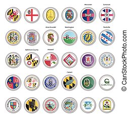 Set of vector icons. Flags and seals of Maryland state, USA.