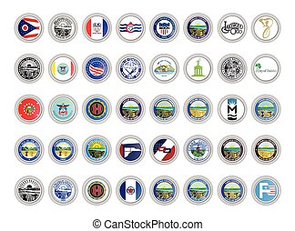 Set of vector icons. Flags and seals of Ohio state, USA.