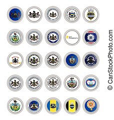 Set of vector icons. Flags and seals of Pennsylvania state, USA.