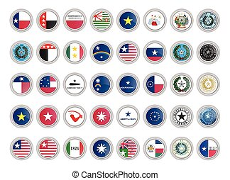 Set of vector icons. Flags and seals of Texas state, USA.