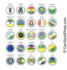 Set of vector icons. Flags of Acre, Amapa and Roraima states, Brazil.