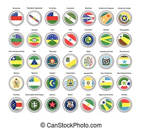 Set of vector icons. Flags of Amazonas and Para states, Brazil.