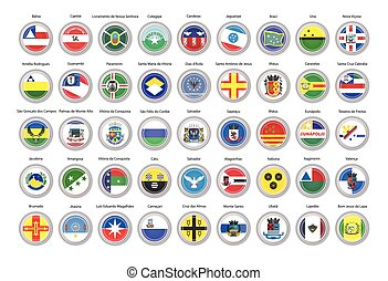 Set of vector icons. Flags of Bahia state, Brazil.