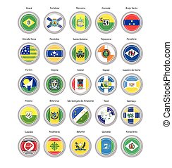 Set of vector icons. Flags of Ceara state, Brazil.