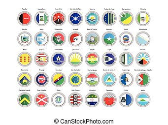 Set of vector icons. Flags of Paraiba state, Brazil.