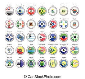 Set of vector icons. Flags of Sao Paulo state, Brazil.