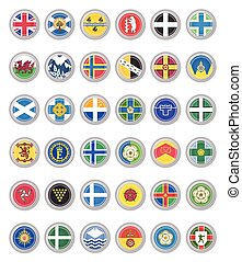 Set of vector icons. Flags of United Kingdom.