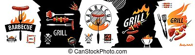 Set of vector icons for barbecue and grill