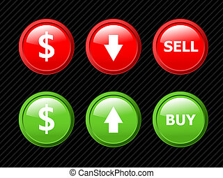 Set of vector icons for currency exchange business theme on...