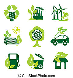 environment - set of vector icons of environment protection ...
