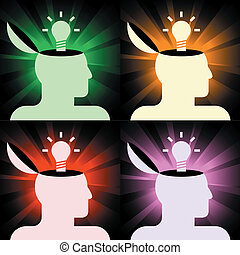 human heads with lamps - set of vector icons of human heads ...
