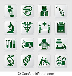 set of vector icons of medical symbols and signs