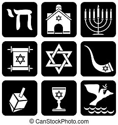 religious judaism signs - set of vector icons of religious...